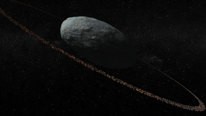 This artist's impression shows the ring system of Haumea that was discovered earlier this year.
