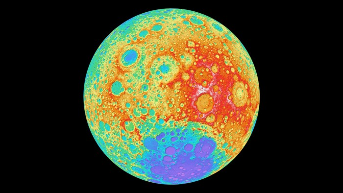 The huge South Pole-Aitken basin on the Moon was created by a massive impact around 4 billion years ago.