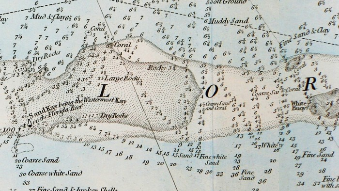 Historical nautical charts of the Florida Keys include historical coral references.